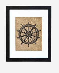 Captain's Wheel print on burlap by Fiber and Water | fiberandwater.com | #nautical #sea #ocean #decor #home