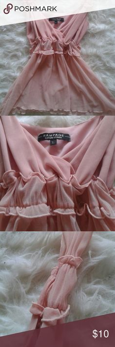 Peach boho top Very pretty, feminine, sheer bodice but not bra top. Look at the detail ! Size says L but it is not, it is medium. Tops Tank Tops