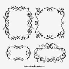 Dibujado a mano marcos ornamentales