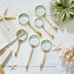 Natura Magnifying Glass Assorted 5 Designs magnification) - Resin/Brass/Glass Material: BRASS Dimensions: from 6 L x 2 Dia to 8 L x Dia Mirrored Picture Frames, Traditional Style Homes, Minimalist Room, Burke Decor, Glass Material, Old World Charm, Magnifying Glass, Pink Quartz, Inspired Homes