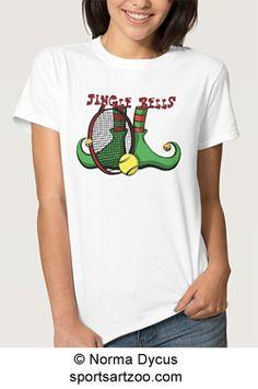 Tennis Christmas Elf Feet Jingle Bell T Shirts by SportsArtZoo #tennis #Christmas #gift #shirt #female