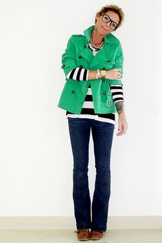 Love the green! I have a jacket that would work for this look, and the black and white striped shirt and jeans!