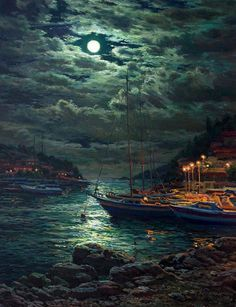 The man who has seen the rising moon break out of the clouds at midnight has been present like an archangel at the creation of light and of the world.. - Ralph Waldo Emerson artist: Stanislav Brusilov