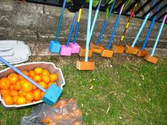 croquet with oranges! (wooden mallets handmade by a member of our Messy Church team) Messy Party Games, Fun Games, Childrens Party Games, Youth Group Activities, Games For Teens, Family Games, Outdoor Projects, Projects To Try, Kids