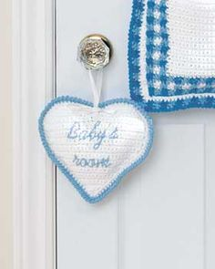 "✓FREE Crochet Pattern: ""Baby's room"" sign. Shown in Lily Sugar'n Cream. ""Baby's asleep"" or ""Sleeping"" might be good to embroider on the other side."