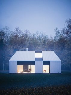 Beautiful modern prefab home that reflects the Swedish vernacular house with its gabled roof shape designed for a couple or family by Claesson Koivisto Rune