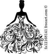 Vector silhouette of young woman in dress. Vector silhouette of young woman in elegant wedding dress. Black Wedding Gowns, Wedding Dresses With Flowers, Rustic Wedding Dresses, Modest Wedding, Elegant Wedding Dress, Flower Dresses, 2017 Wedding, Free Wedding, Wedding Bride