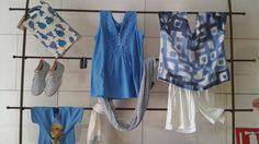 Color roial un blau quasi grec per la nostra illa. Supima I cot mes espardenyes de ratlles a conjunt amb el fulard napolidafornells@gmail.com