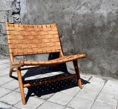 Woven Leather Strap Lounge Chair