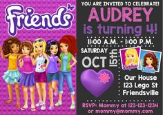 Lego Themed Party, Lego Birthday Party, Cat Birthday, Birthday Parties, Lego Friends Birthday, Lego Friends Party, Lego Invitations, Party Invitations Kids, 70s Party