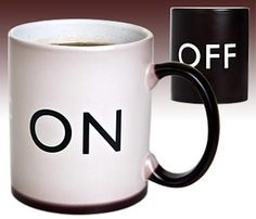 Here's a fun way to start your day with your morning cup of coffee, the on/off coffee mug. This fun mug is black when there is no coffee in it or when you put a cold drink in it, and it displays the word 'OFF' on the front. Add a hot drink like tea or coffee and watch it change colour from black to white, and the text changes from off to on.