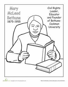 Worksheets: Meet Mary McLeod Bethune