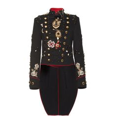 Dolce & Gabbana Embroidered Military Jacket ($24,500) ❤ liked on Polyvore featuring outerwear, jackets, double breasted jacket, dolce gabbana jacket, army jacket, field jacket and embroidery jackets