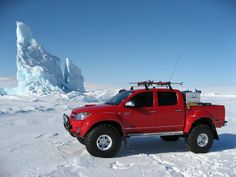 Top Gear Polar Challenge in a Toyota HiLux (Tacoma to U.S. readers): 50 mm suspension lift, 38 inch snow studded tires, 180 liter diesel fuel tank, coolant & fuel temperature heaters, cold-ready front & rear differential locks, front & rear bull bars, KC xenon spotlights, African outback carrying case, Garmin GPS, Iridium satellite phone, VHF radios, on-board cameras, auxiliary electric system, and a plethora of survival gear.