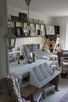 I love the contrast of the rustic old ladder against the pristine white beadboard wall! Room, House, Interior, Home Furnishings, Home, Old Ladder, White Beadboard, Creative Home, New Room