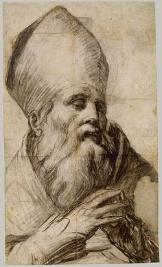 Parmigianino (Girolamo Francesco Maria Mazzola) ~ Bishop Saint in Prayer, c.1528-30 (chalk)