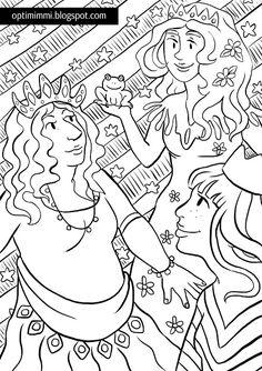 OPTIMIMMI | A free printable coloring page of princesses and a frog / Ilmainen tulostettava värityskuva prinsessoista ja sammakosta