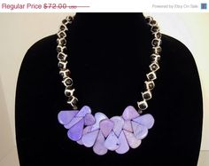 SUPER SALE Beaded Ruffles Necklace in Purple and by DebbieRenee, $46.80