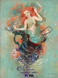 Just be straight-up please. Aquarius Art, Aquarius Astrology, Fantasy Artwork, Constellations, Tarot, Zodiac Signs, Mermaid, Watercolor, Retro