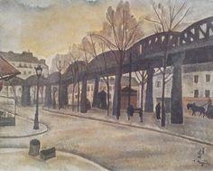 1917 env. le métro aérien à Paris _Huile 33.5 x 41 cm Collection particulière