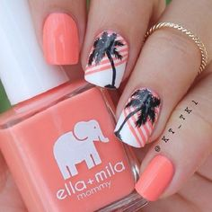 Pretty looking melon themed Palm Tree Nail Art design. The nails are painted with white and melon colors for the background. On top the palm trees are painted in black polish to depict silhouettes.