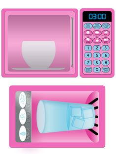 Pink Refridgerator and Microwave Play Kitchen Decals by Printatoy