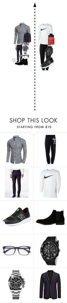 """""""Office vs Gym"""" by youraveragebritishchick ❤ liked on Polyvore featuring Moschino, Kenneth Cole Reaction, NIKE, New Balance, ALDO, TechnoMarine, Rolex, Joseph, The North Face and men's fashion"""