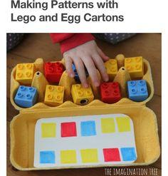 Inspiration Montessori: Matching game with Lego and egg carton. Motor Skills Activities, Montessori Activities, Preschool Learning, Fine Motor Skills, Fun Learning, Preschool Activities, Montessori Materials, Learning Skills, Preschool Worksheets