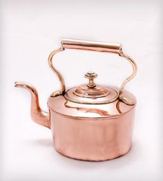 Mid-19th Century Copper Tea Kettle | This lovely copper tea kettle features hand crafted dovetailed... | Stovetop Kettles