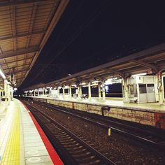 """What hath night to do with sleep?"" ~John Milton, Paradise Lost~ 450am. Deserted Motomachi Eki. Waiting for first train to Kyoto. Kobe,Japan"