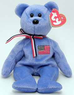 America (blue), Ty Beanie Baby bear reference information and photograph. Ty Stuffed Animals, Plush Animals, Dinosaur Stuffed Animal, Stuffed Toys, Beanie Baby Bears, Ty Bears, Ty Plush, Barbie 90s, Ty Babies