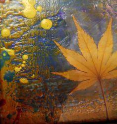 Japanese Maple leaf encaustic painting  mixed by MyriadStudios, $23.00