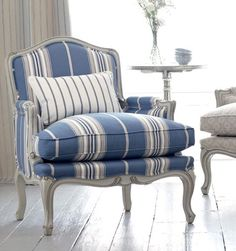 plumped cushion and blue striped...