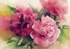 Rote Pfingstrose Bouquet Blumen Aquarell Druck von OlgaSternyk