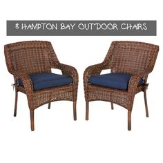 8 Hampton Bay Outdoor Chairs | Balloondir Wicker Dining Chairs, Patio Lounge Chairs, Outdoor Rocking Chairs, Dining Chair Set, Garden Chairs For Sale, Navy Blue Cushions, Outdoor Dining Set, Outdoor Spaces, The Hamptons
