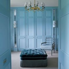 Wardrobe ideas, bedroom storage and clothes storage ideas; from stylish fitted wardrobes, corner wardrobes and built in cupboards, to mirrored and sliding wardrobe doors and storage boxes. Walk In Wardrobe, Wardrobe Doors, Wardrobe Ideas, Wardrobe Design, Closet Doors, Blue Rooms, White Rooms, Blue Bedroom, Blue Walls