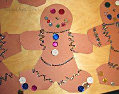Gingerbread Man Christmas Craft For Kids #DIY #Classroom art project | CraftyMorning.com