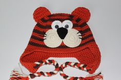 Crochet Tiger Hat Brown / Orange for Boy or Girl - size 2T-4T Ready to ship!