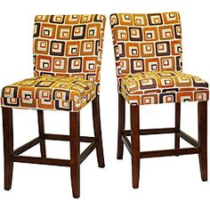 @Overstock - These barstools combine modern appeal with classic construction. Made of Asian rubber wood and fashioned with a stylish, cube print patterned cushion that runs the length of the back, they will perfect the look of your kitchen or dining room.http://www.overstock.com/Home-Garden/Decor-Orange-Cube-Print-Wood-Barstools-Set-of-2/4819937/product.html?CID=214117 $169.99