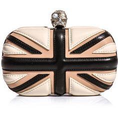 A purse with a skull and the Union Jack in black and pink????  Laaaaaaaalaaaaaaaa!!!!!!!!  Alexander Mcqueen Alexander Mcqueen Leather Union Jack Box Clutch - LoLoBu