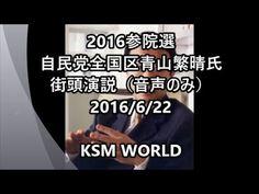 【KSM】2016参院選 自民党 全国区 青山繁晴氏 街頭演説(音声のみ)2016年6月22日