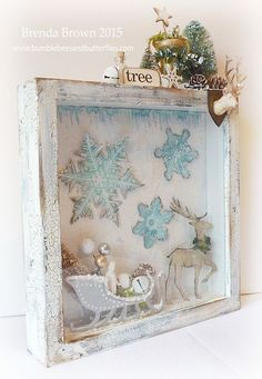 Vintage Shabby Chic Picture Frames Shabby Babe Vintage Christmas Shadow Boxes, 3d Christmas, Shabby Chic Christmas, Christmas Frames, Christmas Projects, All Things Christmas, Vintage Christmas, Christmas Decorations, Christmas Ornaments