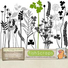 Sale 40% Tall Foliage Clip Art - Digital  Stamps -  Silhouettes - Foliage Graphics - Flower Photoshop Brushes