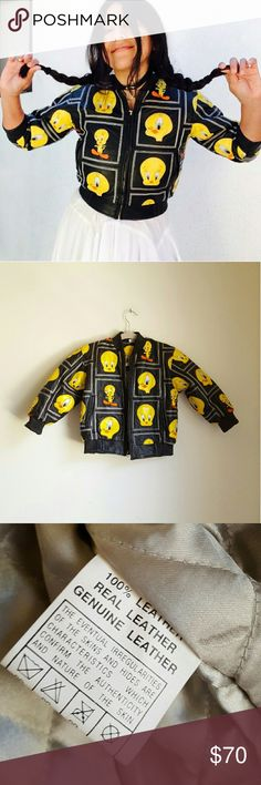 "Vintage Tweety Bird kids leather patchwork bomber Vintage Looney Tunes Tweety Bird leather bomber jacker size M in kids sizes.  Features dope patchwork with embroidered Tweety all over with different posses and faces.  Trully unique.  Aprox measurements Laying Flat  From collar to hemline 17.5"" Chest from armpit to armpit(zipped) 26"" Shoulder straight across 14.5"" Arms From armpit to cuff 11""  This is really little, I wish it fits better, I'd keep it <\3  But, again, is a kids jacket. Not…"