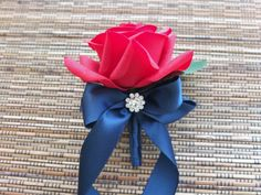 Red and Silver Boutonniere, Red Rose with Silver ribbon and rhinestone accent