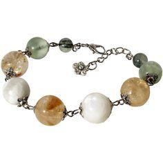 Boho Gemstone Bracelet, Citrine, Rainbow Moonstone And Prehnite Yoga... (115 ILS) ❤ liked on Polyvore featuring jewelry, bracelets, tribal jewelry, gemstone bangle, yoga jewelry, gypsy jewelry and citrine jewelry