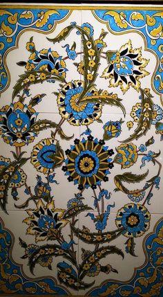 :) Turkish Tiles, Turkish Art, Islamic Tiles, Islamic Patterns, Antique Tiles, Iranian Art, Tile Murals, Ceramic Design, Leaded Glass