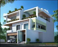 Model House Plan, Dream House Plans, Duplex House Design, Modern House Design, Modern Architecture House, Architecture Design, Indian House Plans, House Elevation, New Home Designs