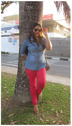 Camisa Jeans+Red Pant