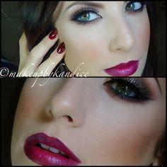 All makeup geek shadows, MAC vino lipliner and rebel lipstick. YouTube: kandicexox1